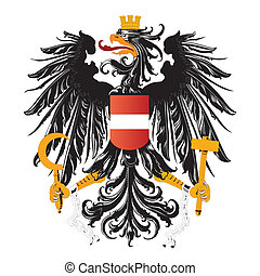 Symbol of austria eagle with hammer and sickle and crown