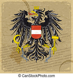 Austria coat of arms on an old sheet of paper