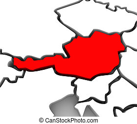 Austria Country 3D Abstract Map Europe Continent