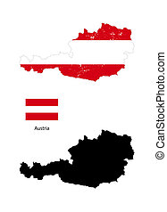 Austria country black silhouette and with flag on background