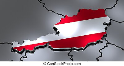 Austria - country borders and flag - 3D illustration