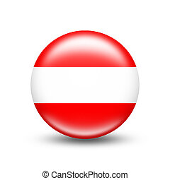 Austria country flag in sphere with shadow