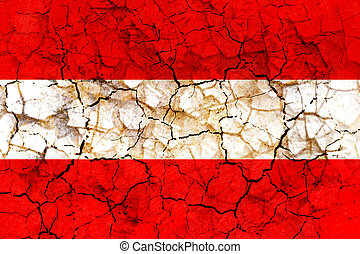 austria country flag painted on a cracked grungy wall