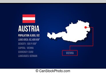 Austria country infographic with flag and map creative design