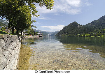 Austria cristal water in the lake in the mountains