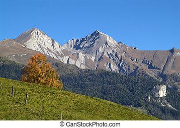 Austria, autumn landscape in Matrei with Goldried mountain