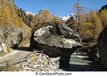 Austria, way and river through Gschloess Valley in Tauern nationalpark