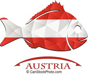 austria., fish, fait, drapeau, logo
