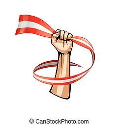 Austria flag and hand on white background. Vector illustration
