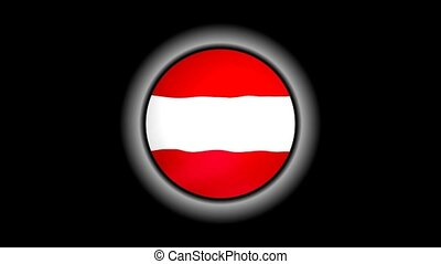 Austria flag button isolated on black