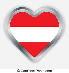 Austria  Flag Heart Glossy Button