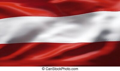 AUSTRIA flag in slow motion - Creased cotton flag with...