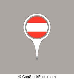 Austria flag location map icon , Vector illustration.