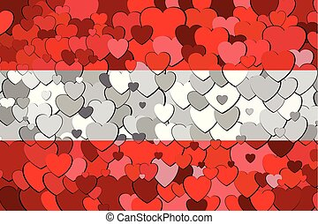 Austria flag made of hearts background