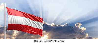 Austria flag on blue sky. 3d illustration