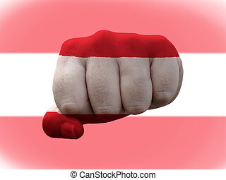 Austria Flag painted on human fist representing power