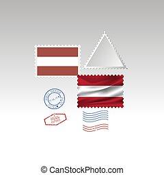 Austria flag postage stamp set, isolated on gray background, vector illustration. 10 eps