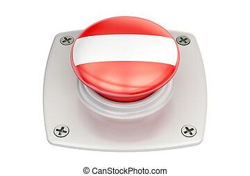 Austria flag push button, 3D rendering