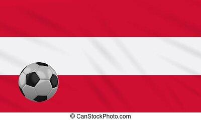 Austria flag waving and football rotates, loop