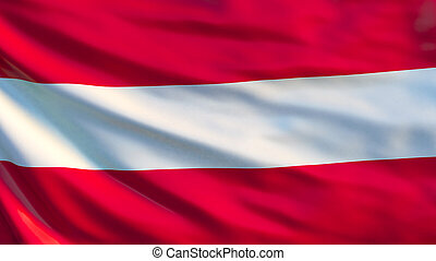 Austria flag. Waving flag of Austria 3d illustration