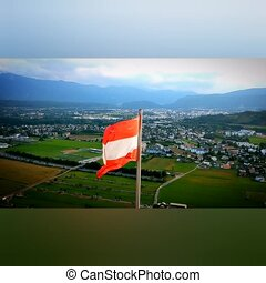 Austria flag waving in the wind. Beautiful detailed fabric loop