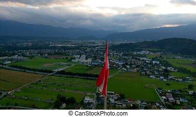 Austria flag waving in wind video. Austria flag looping closeup