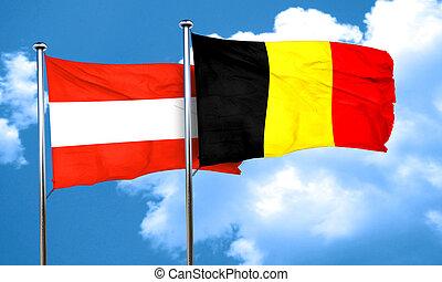 Austria flag with Belgium flag, 3D rendering