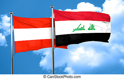 Austria flag with Iraq flag, 3D rendering