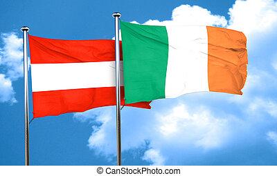 Austria flag with Ireland flag, 3D rendering