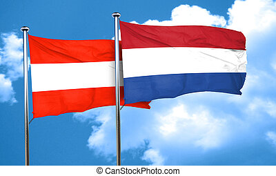 Austria flag with Netherlands flag, 3D rendering