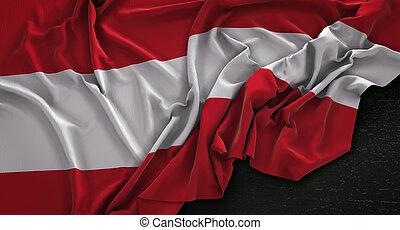 Austria Flag Wrinkled On Dark Background 3D Render