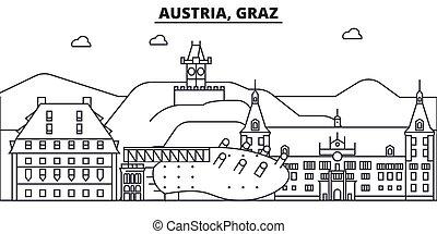 Austria, Graz architecture line skyline illustration. Linear vector cityscape with famous landmarks, city sights, design icons. Editable strokes