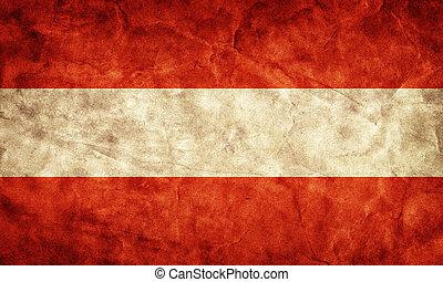 austria, grunge, flag., pozycja, z, mój, rocznik wina, retro, bandery, zbiór