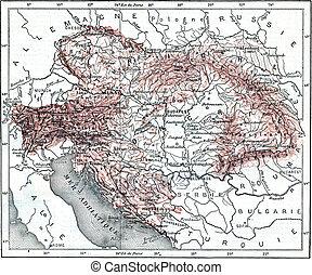 Austria-Hungary, vintage engraving. - Austria-Hungary, ...