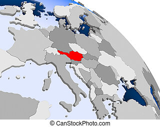 Austria in red on map