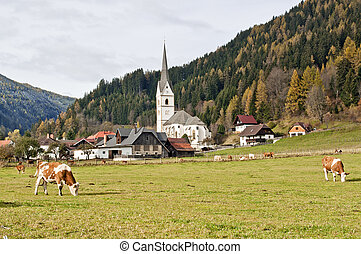 Austria In The Alps With A Church And Cows