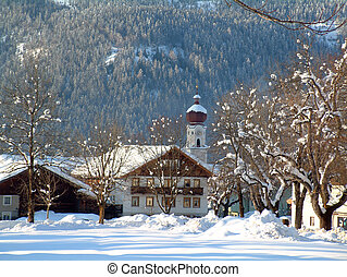 Austria in Winter - Austrian Chalet and chapel in winter ...
