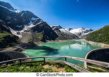 Austria Kaprun - The Kaprun reservoir in the high Alp...