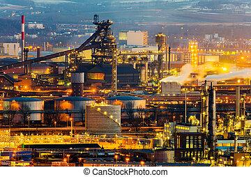 austria, upper austria, linz. night view of the industrial area