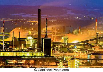 austria, upper austria, linz. night view of the industrial zone