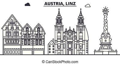 Austria, Linz line skyline vector illustration. Austria,...