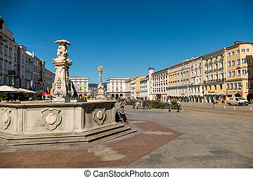 austria, linz, main square, trinity column. and wells