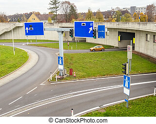 austria, linz, highway. tunnel for noise calming the binder michel on the a7 motorway.