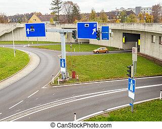 austria, linz, urban motorway - austria, linz, highway....
