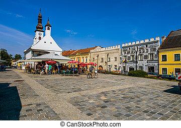 austria, lower austria, gm?nd.der town square of gm?nd is worth seeing.