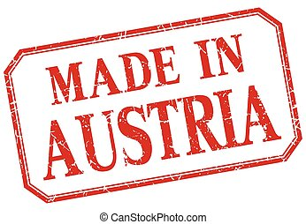 Austria - made in red vintage isolated label