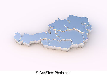 High resolution Austria map in 3D in metal with states stepwise arranged and including a clipping path.