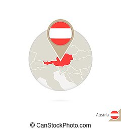 Austria map and flag in circle. Map of Austria, Austria flag...