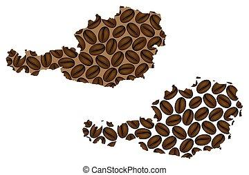 Austria map - Austria -  map of coffee bean,