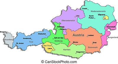 Austria map over white